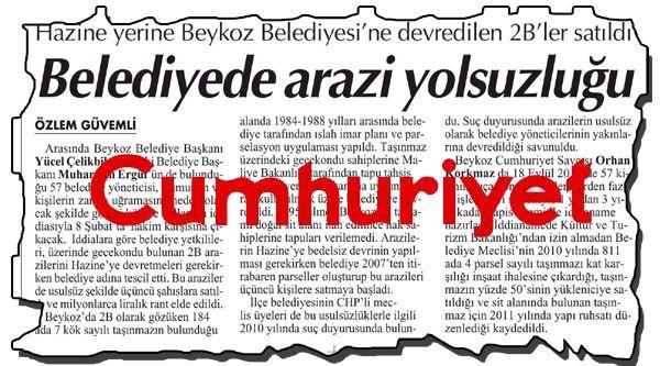 Cumhuriyet Gazetesi Beykoz gerçeğini saptırıyor
