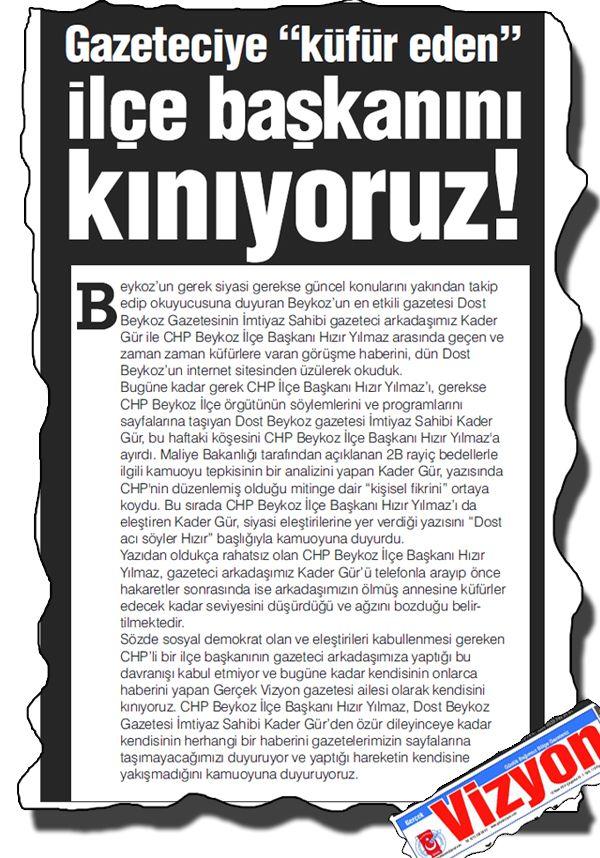 CHP Beykoz İlçe Başkanına kınama…