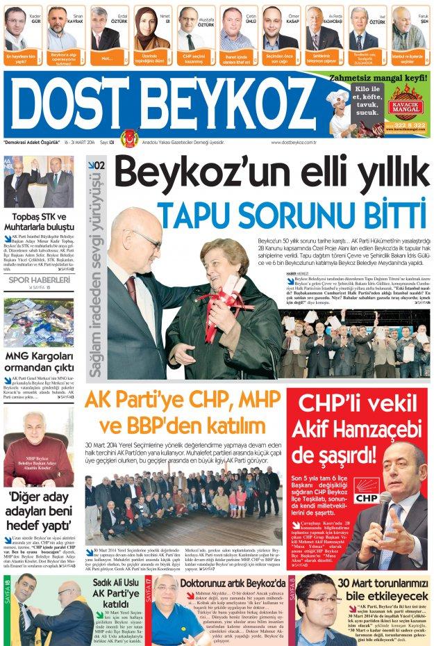 Dost Beykoz Gazetesi Mart 2014/2 - 131. Sayı