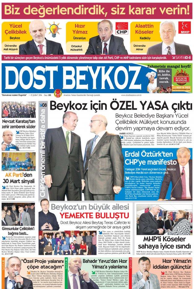 Dost Beykoz Gazetesi Mart 2014/1 - 130. Sayı