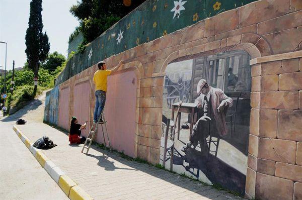 Beykoz'un duvarlarına tarih nakşedildi