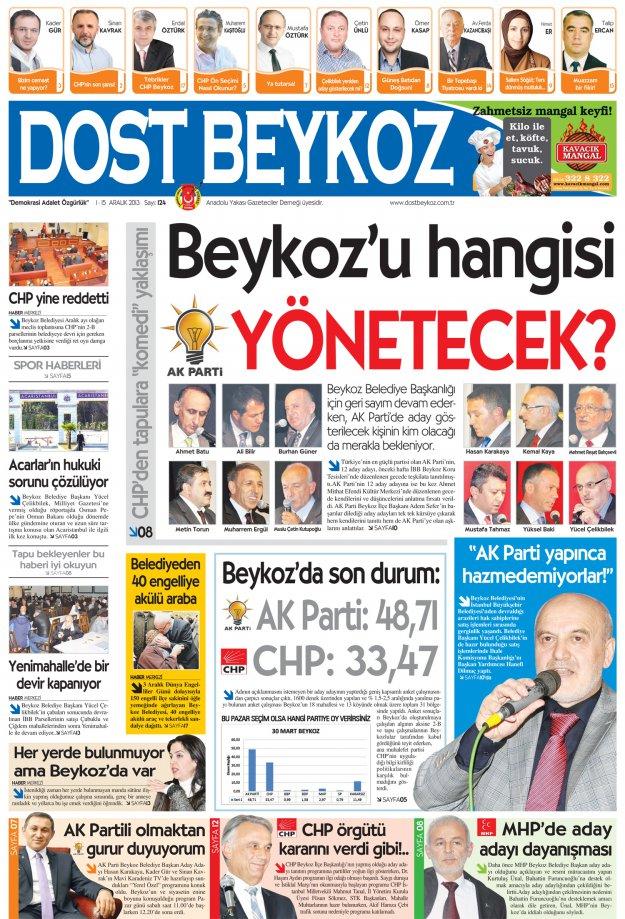 Dost Beykoz Gazetesi Aralık 2013/1 - 124. Sayı