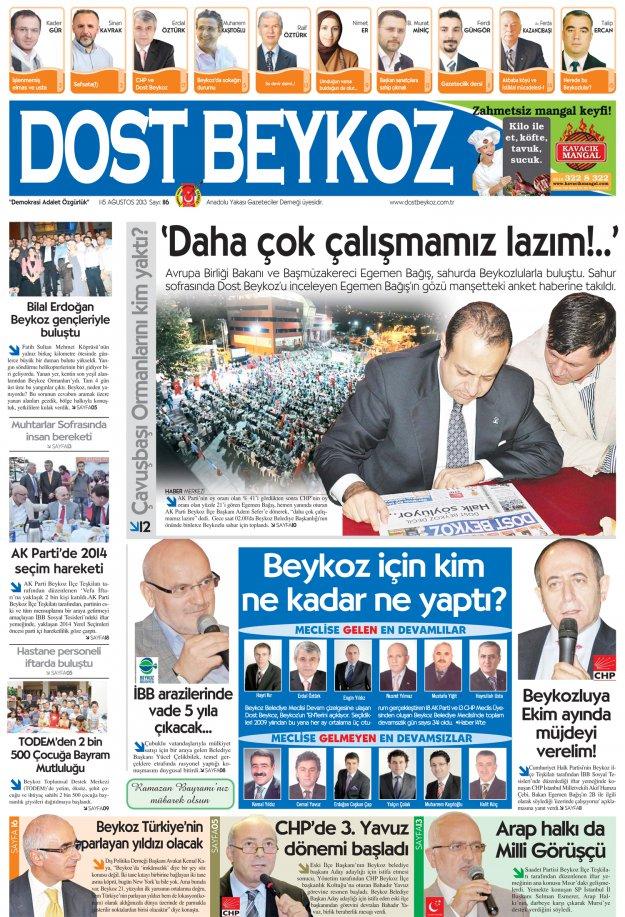 Dost Beykoz Gazetesi Ağustos 2013/1... 116. Sayı