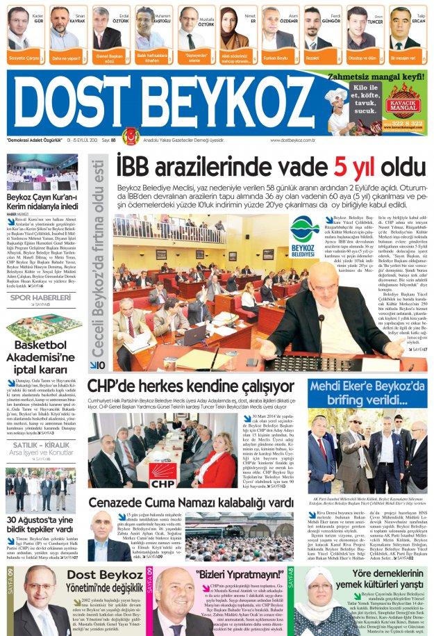 Dost Beykoz Gazetesi Eylül 2013/1... 118. Sayı
