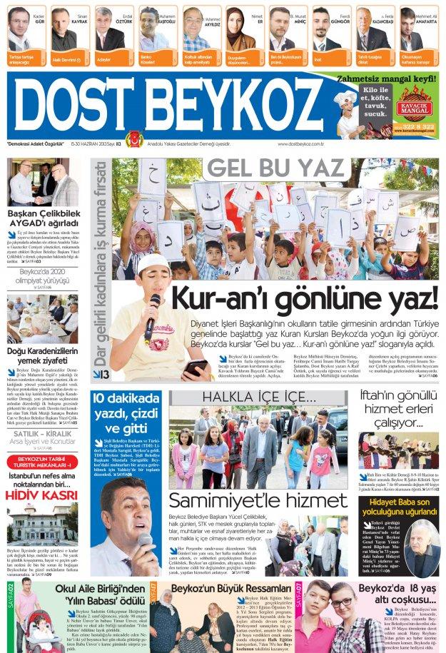 Dost Beykoz Gazetesi Haziran 2013/2... 113. Sayı