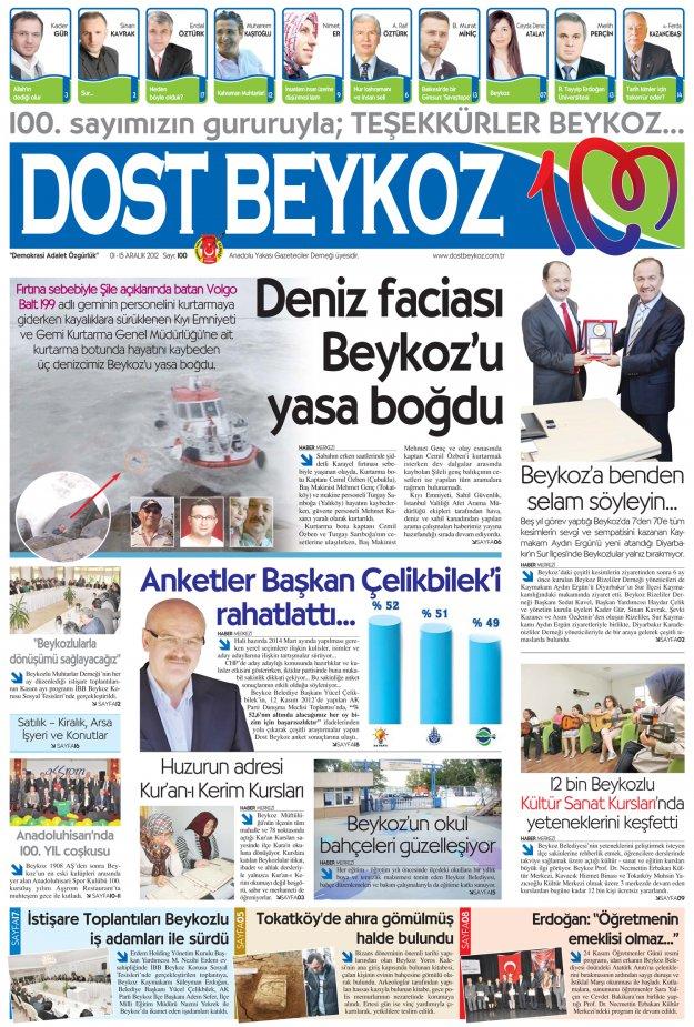 Dost Beykoz Gazetesi Aralık 2012/1... 100. Sayı