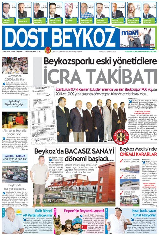 Dost Beykoz Gazetesi Ağustos 2012.. 94. Sayı