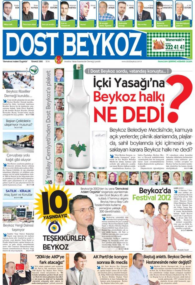 Dost Beykoz Gazetesi Temmuz 2012.. 93. Sayı