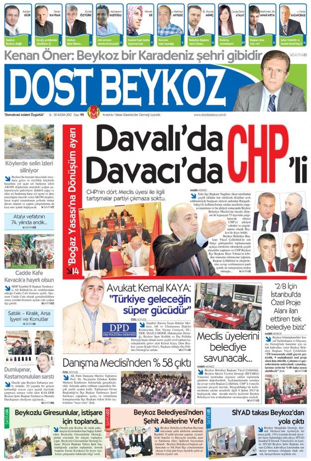 Dost Beykoz Gazetesi Kasım 2012/2... 99. Sayı