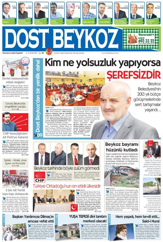 Dost Beykoz Gazetesi Kasım 2012/1... 98. Sayı