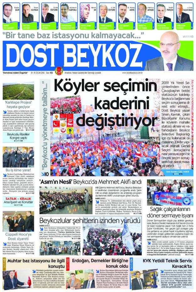 Dost Beykoz Gazetesi Ocak 2013/1... 102. Sayı
