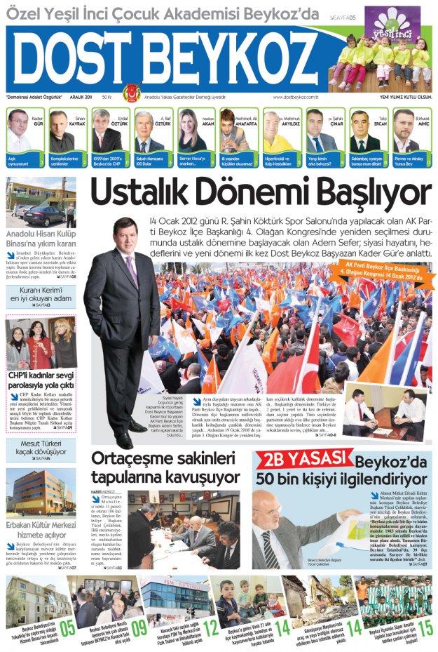 Dost Beykoz Gazetesi Aralık 2011... 86. Sayı