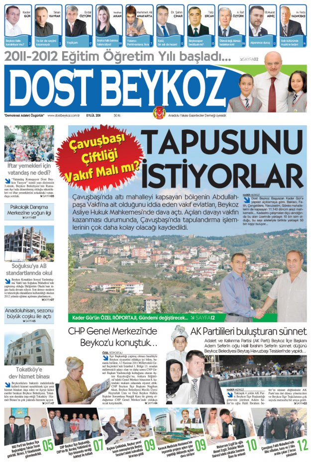 Dost Beykoz Gazetesi Eylül 2011... 83. Sayı