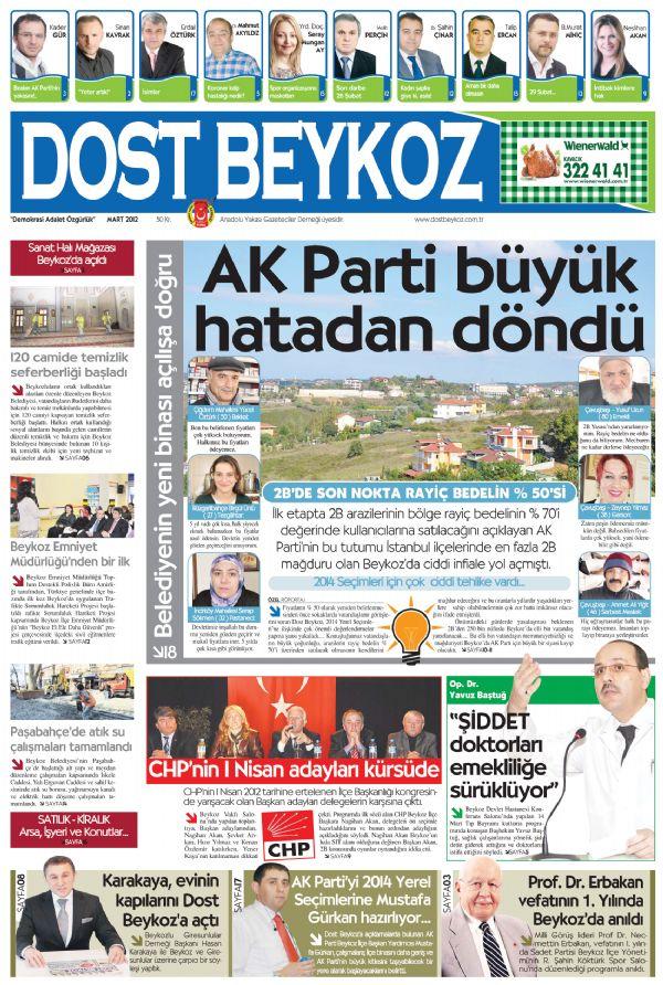 Dost Beykoz Gazetesi Mart 2012.. 89. Sayı