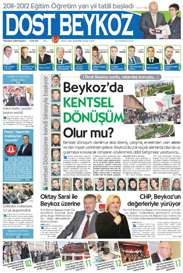 Dost Beykoz Gazetesi Ocak 2012.. 87. Sayı