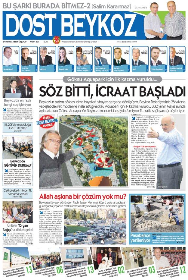 Dost Beykoz Gazetesi Kasım 2011... 85. Sayı