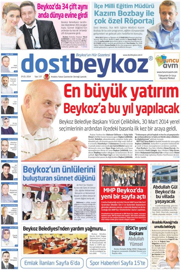 Dost Beykoz Gazetesi Eylül  2014... 137. Sayı