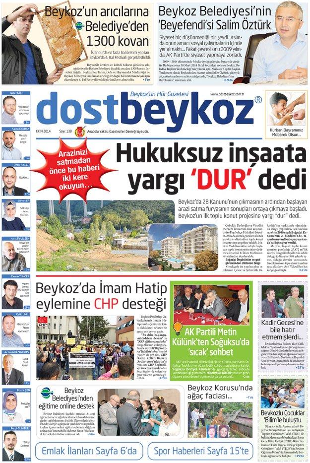 Dost Beykoz Gazetesi Ekim 2014... 138. Sayı