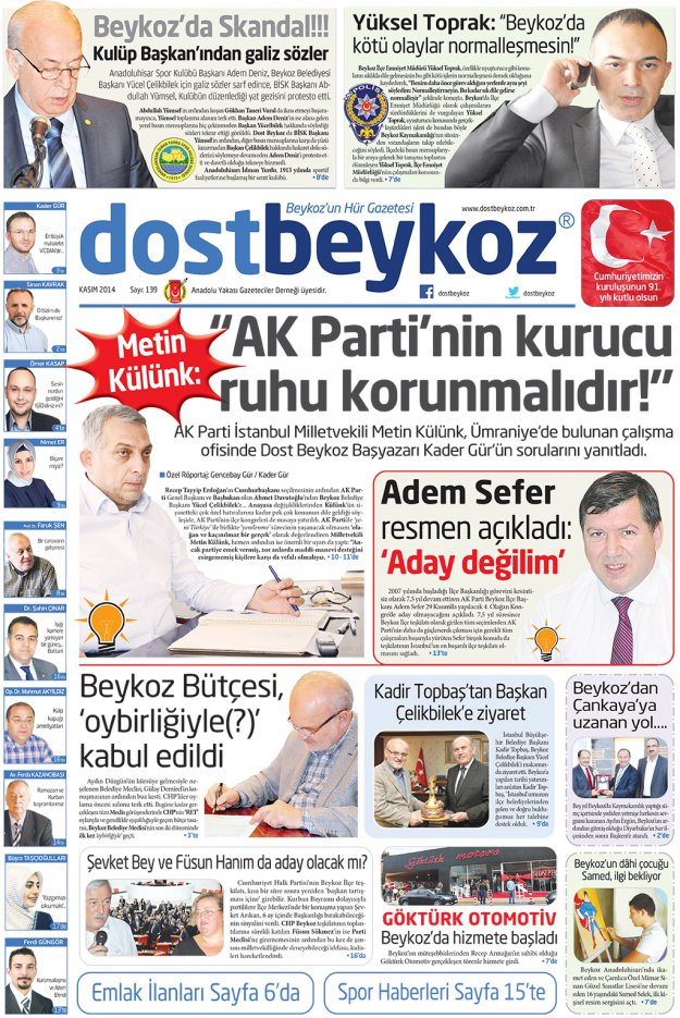 Dost Beykoz Gazetesi Kasım 2014... 139. Sayı