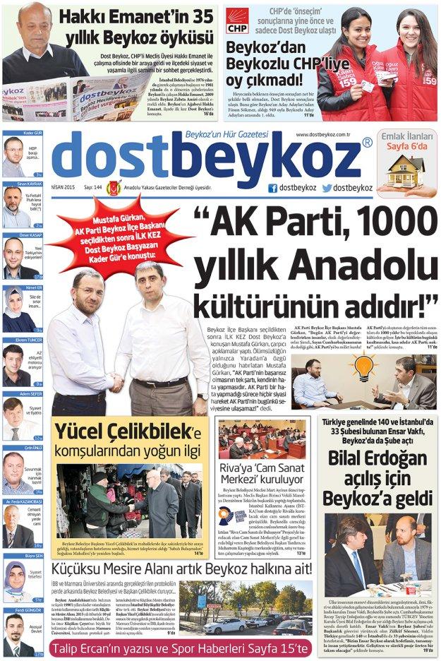 Dost Beykoz Gazetesi Nisan 2015... 144. Sayı