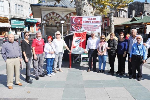 Beykoz'da vatan nöbet çadırı kuruldu