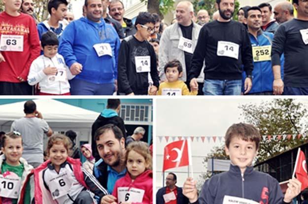 Üsküdar'da babalar çocukları ile yarıştı