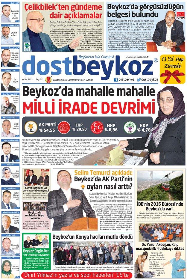 Dost Beykoz Gazetesi Kasım 2015... 151. Sayı
