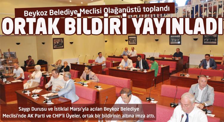 Beykoz Belediye Meclisi'nden ortak bildiri