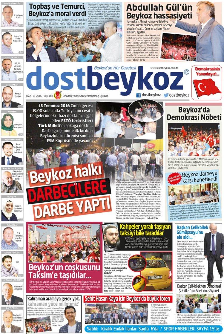Dost Beykoz Gazetesi Ağustos 2016... 160. Sayı