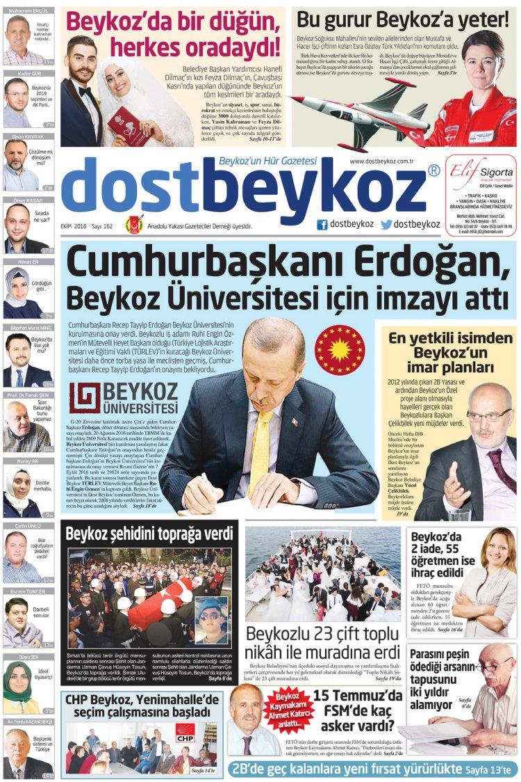 Dost Beykoz Gazetesi Ekim 2016... 162. Sayı