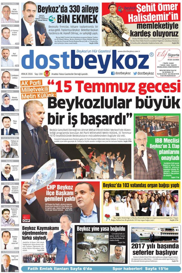 Dost Beykoz Gazetesi Aralık 2016... 164. Sayı