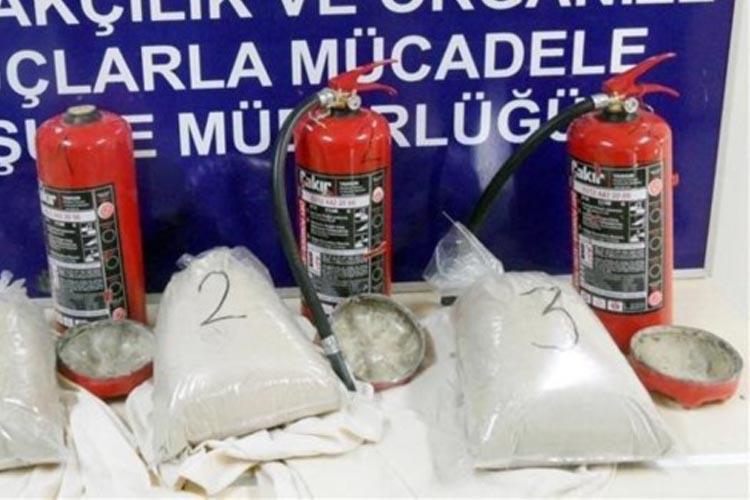 Beykoz'da yangın tüpü içinde 10 kilo eroin