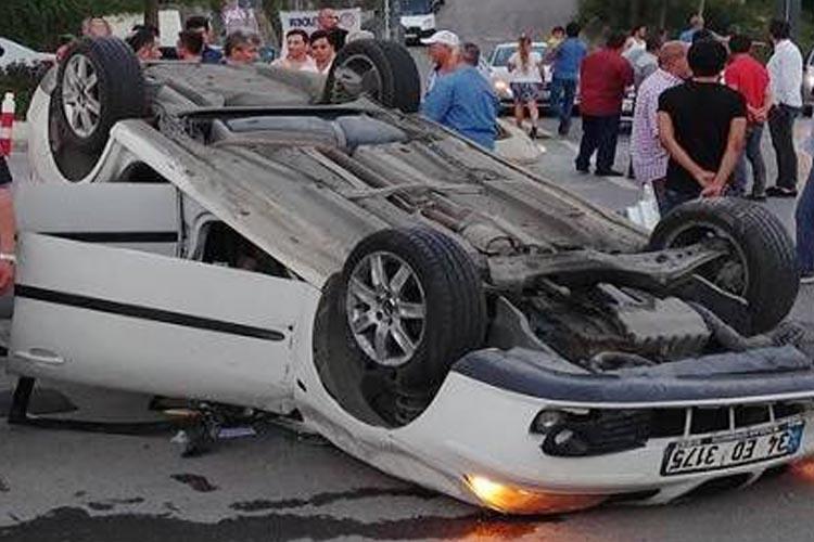 Beykoz Çavuşbaşı'nda araç takla attı