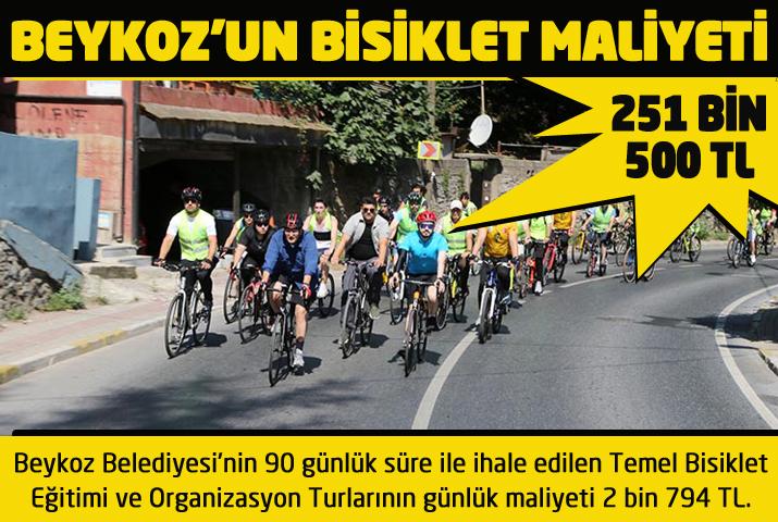 Beykoz'un 90 günlük bisiklet maliyeti 251 bin 500 TL