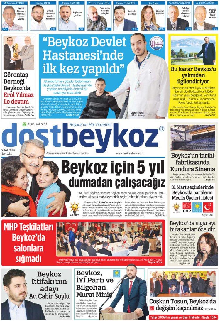 Dost Beykoz Gazetesi Şubat 2019... 191. Sayı
