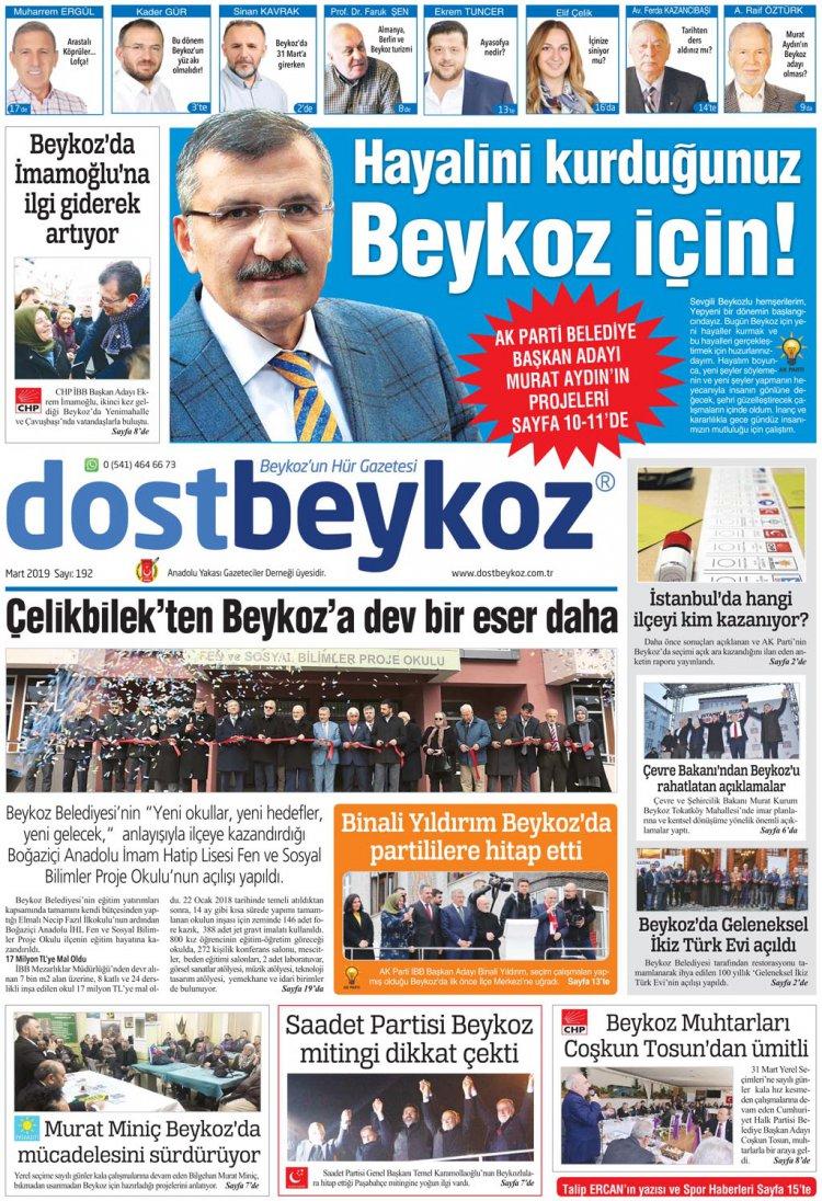 Dost Beykoz Gazetesi Mart 2019... 192. Sayı