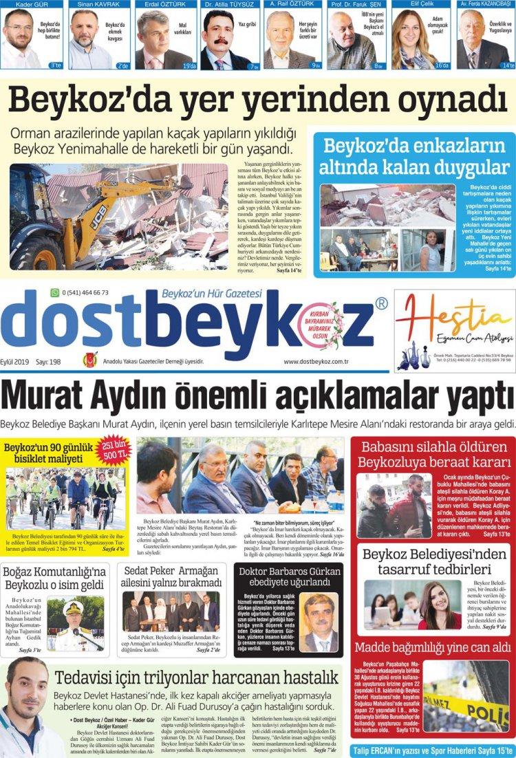 Dost Beykoz Gazetesi Eylül 2019... 198. Sayı