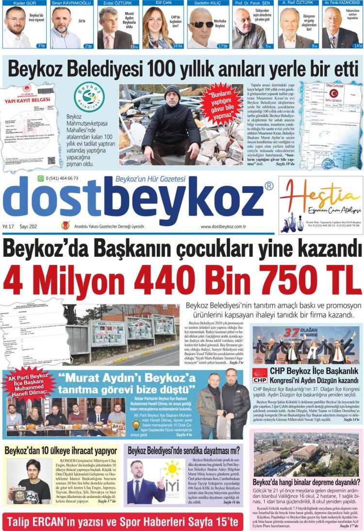 Dost Beykoz Gazetesi Ocak 2020... 202. Sayı