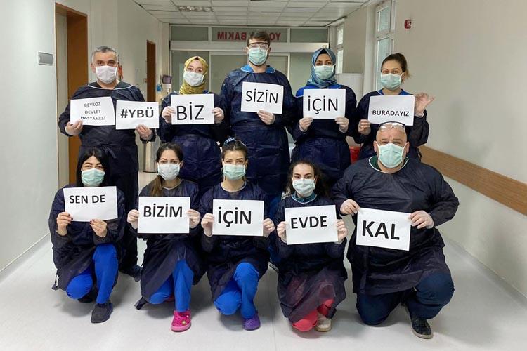 Beykoz Devlet Hastanesi personelinden 'evde kal' çağrısı
