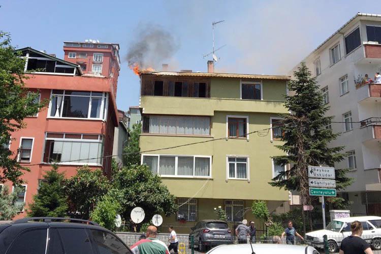 Beykoz'da 4 katlı bina alev alev yandı