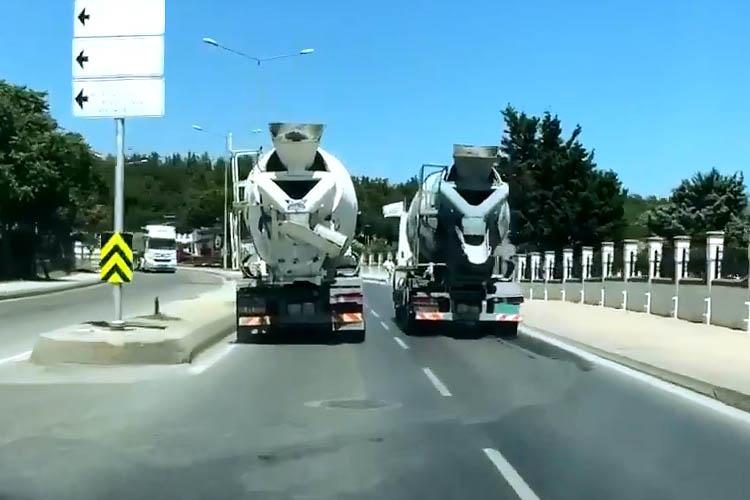 Beykoz yolunda beton mikserlerinin yarışı
