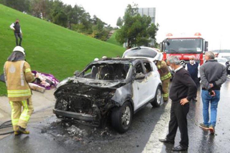Beykoz Kavacık Mevkii'nde araç yangını