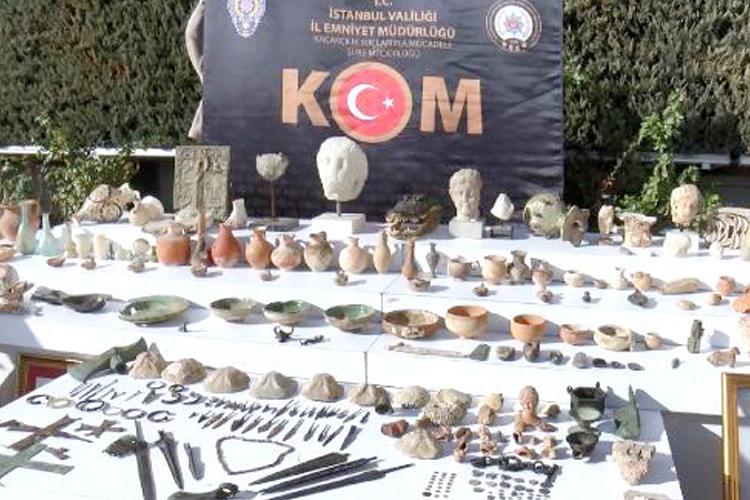 Beykoz'da çok sayıda tarihi eser ele geçirildi