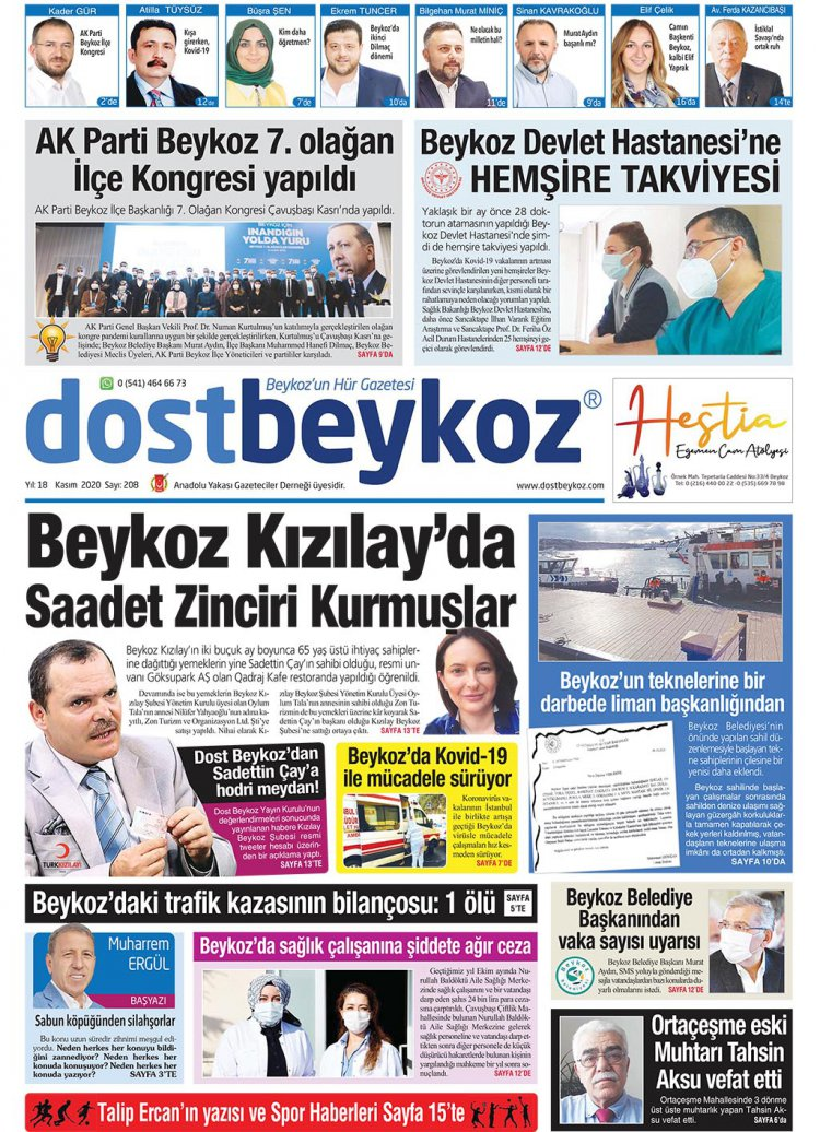 Dost Beykoz Gazetesi Kasım 2020... 208. Sayı