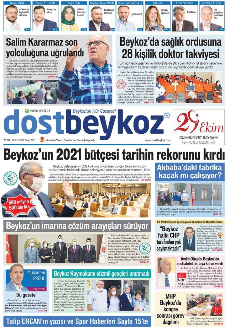 Dost Beykoz Gazetesi Ekim 2020... 207. Sayı