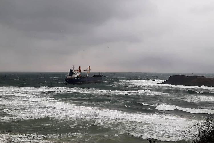 Beykoz Riva'da kargo gemisi karaya oturdu