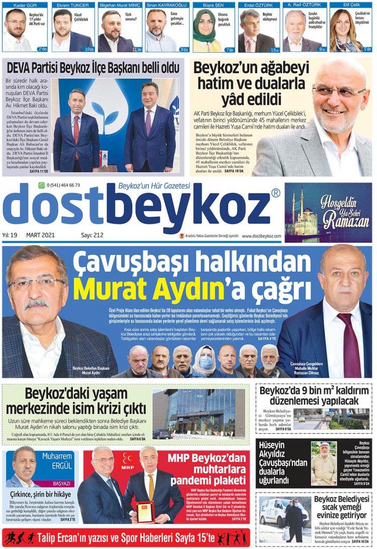 Dost Beykoz Gazetesi Mart 2021... 212. Sayı