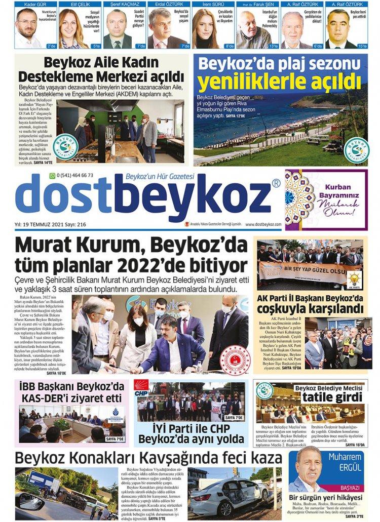 Dost Beykoz Gazetesi Temmuz 2021... 216. Sayı