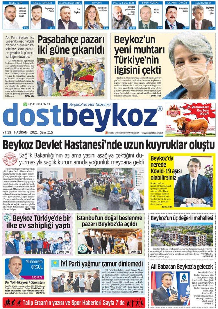 Dost Beykoz Gazetesi Haziran 2021... 215. Sayı